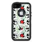 pattern with lovely pandas with hearts OtterBox defender iPhone case