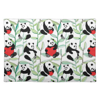 pattern with lovely pandas with hearts placemat
