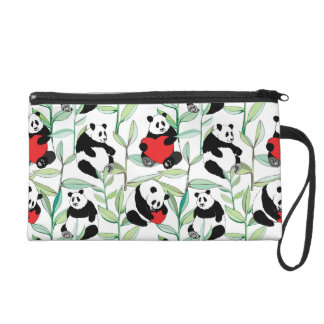 pattern with lovely pandas with hearts wristlets