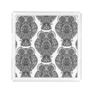 Pattern With Owls Doodle Acrylic Tray