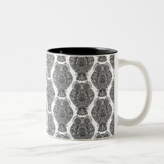 Pattern With Owls Doodle Two-Tone Coffee Mug