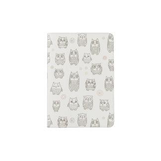 Pattern with owls passport holder