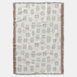 Pattern with owls throw blanket