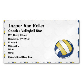 Pattern with Painted Volleyball Magnetic Business Cards