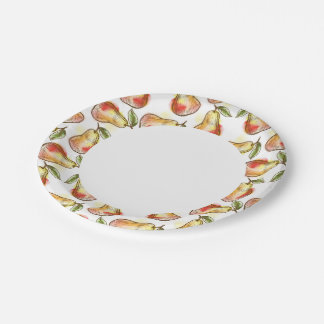 Pattern with pear paper plate