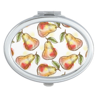 Pattern with pear travel mirror