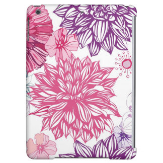 Pattern with pink asters and dahlia