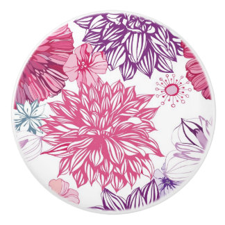 Pattern with pink asters and dahlia ceramic knob
