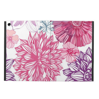 Pattern with pink asters and dahlia cover for iPad air
