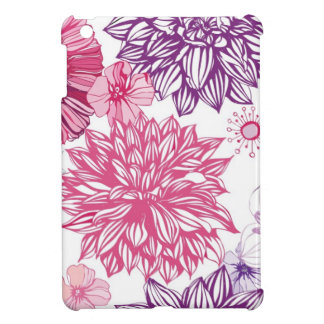 Pattern with pink asters and dahlia cover for the iPad mini