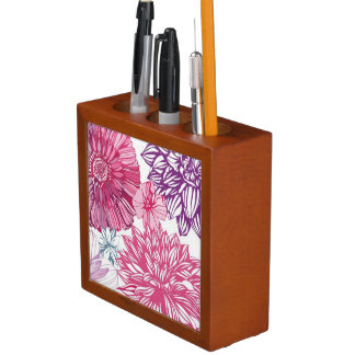 Pattern with pink asters and dahlia desk organiser