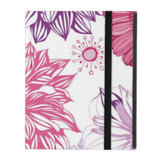 Pattern with pink asters and dahlia iPad folio cover