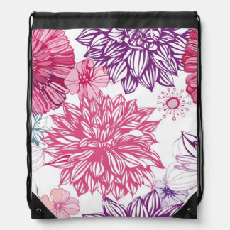 Pattern with pink asters and dahlia drawstring bag