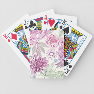 Pattern with pink flowers bicycle playing cards