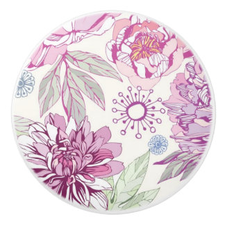 Pattern with pink flowers ceramic knob