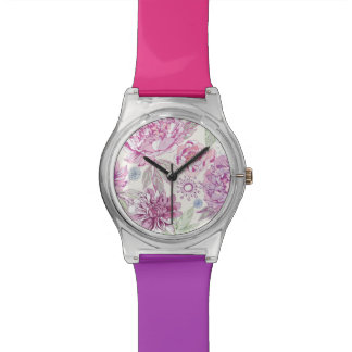 Pattern with pink flowers watch
