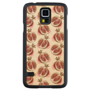 Pattern with pomegranate carved maple galaxy s5 case