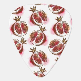 Pattern with pomegranate guitar pick