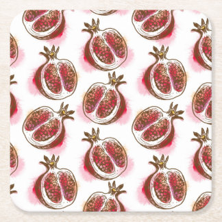 Pattern with pomegranate square paper coaster