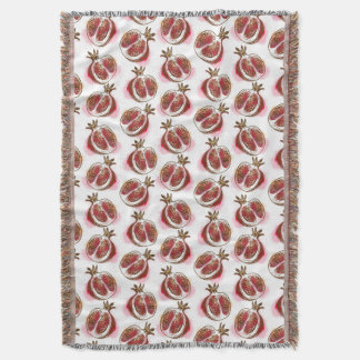 Pattern with pomegranate throw blanket