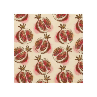 Pattern with pomegranate wood print