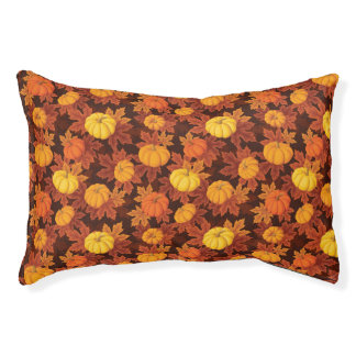 Pattern with pumpkins and autumn maple pet bed