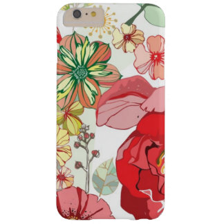 Pattern with red flowers barely there iPhone 6 plus case