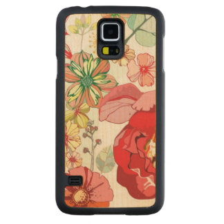 Pattern with red flowers carved maple galaxy s5 case