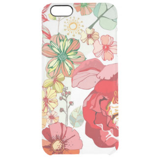 Pattern with red flowers clear iPhone 6 plus case