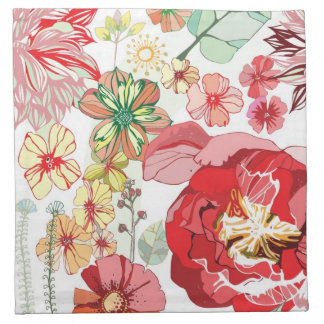 Pattern with red flowers napkin