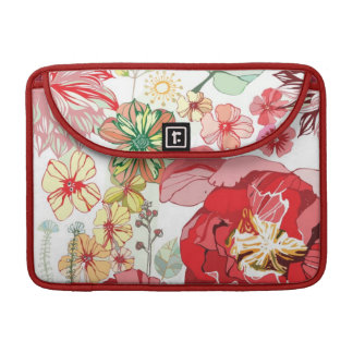 Pattern with red flowers sleeve for MacBook pro