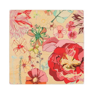 Pattern with red flowers wood coaster