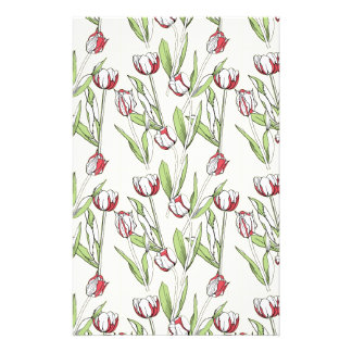 Pattern with red white tulips stationery