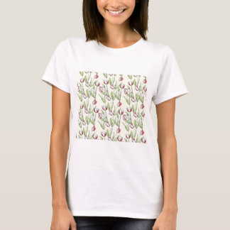 Pattern with red white tulips T-Shirt