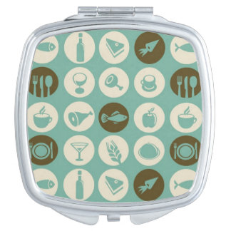 Pattern With Restaurant And Food Icons Compact Mirror