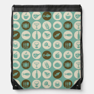 Pattern With Restaurant And Food Icons Drawstring Bag