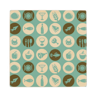 Pattern With Restaurant And Food Icons Wood Coaster