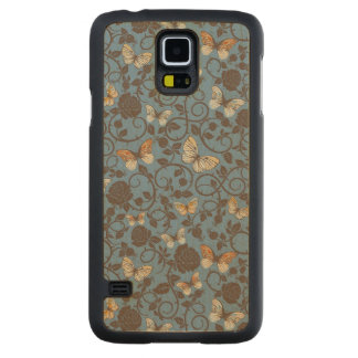 pattern with roses and butterfly carved maple galaxy s5 case