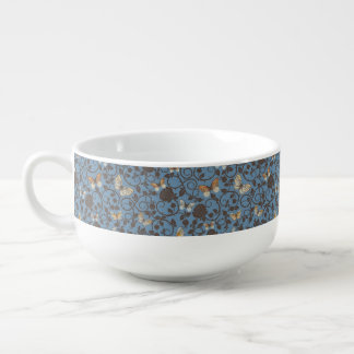 pattern with roses and butterfly soup mug