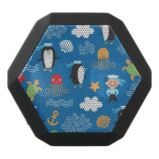 pattern with sea theme black bluetooth speaker