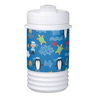 pattern with sea theme cooler