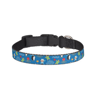 pattern with sea theme pet collar