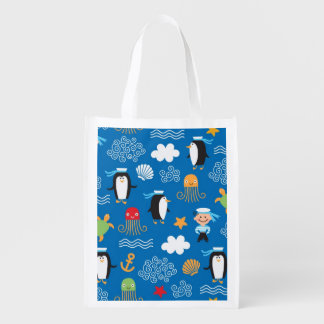 pattern with sea theme reusable grocery bag