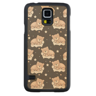 pattern with small bear sleeping carved maple galaxy s5 case