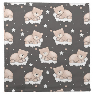 pattern with small bear sleeping napkin