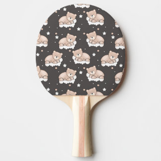 pattern with small bear sleeping ping pong paddle