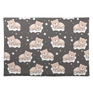 pattern with small bear sleeping placemat