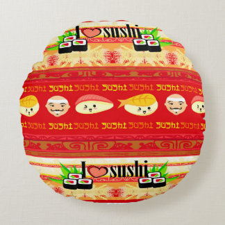 pattern with sushi Round Cushions
