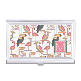 Pattern With Tropical Birds | Add Your Initial Business Card Holder