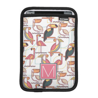 Pattern With Tropical Birds | Add Your Initial iPad Mini Sleeve